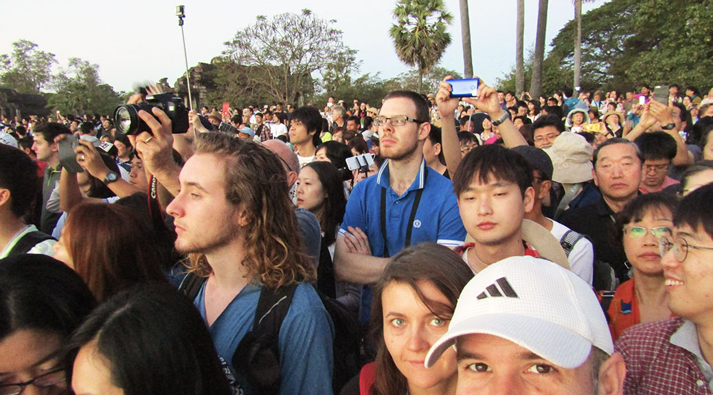 In front of the crowd for sunrise at Angkor Wat.