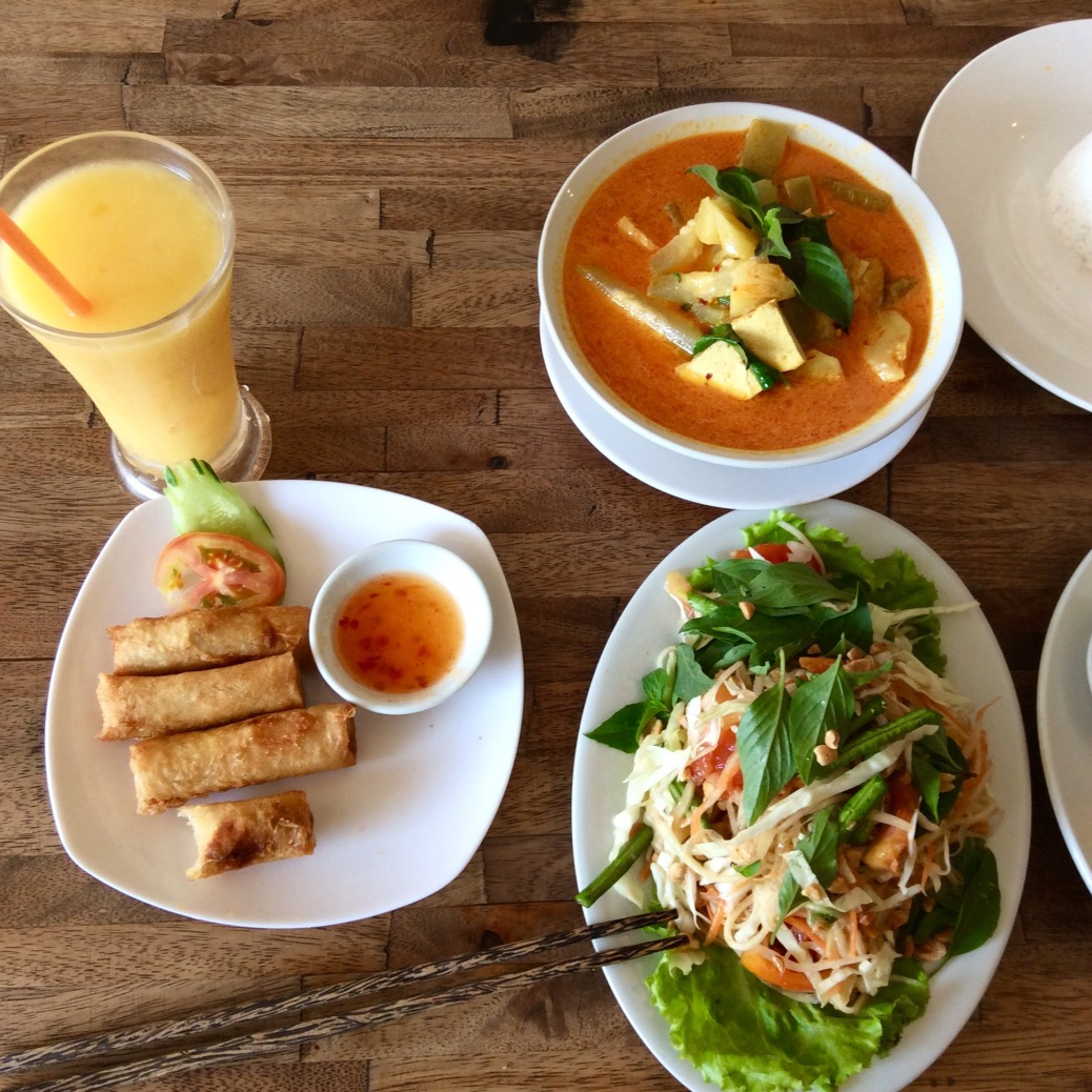 Part of our lunch at My Little Cafe. The small shop had a big menu with equally big flavors. We had spring rolls, papaya salad, a bitter melon soup and Lok Lak (not shown). Really enjoying the food in Cambodia so far.