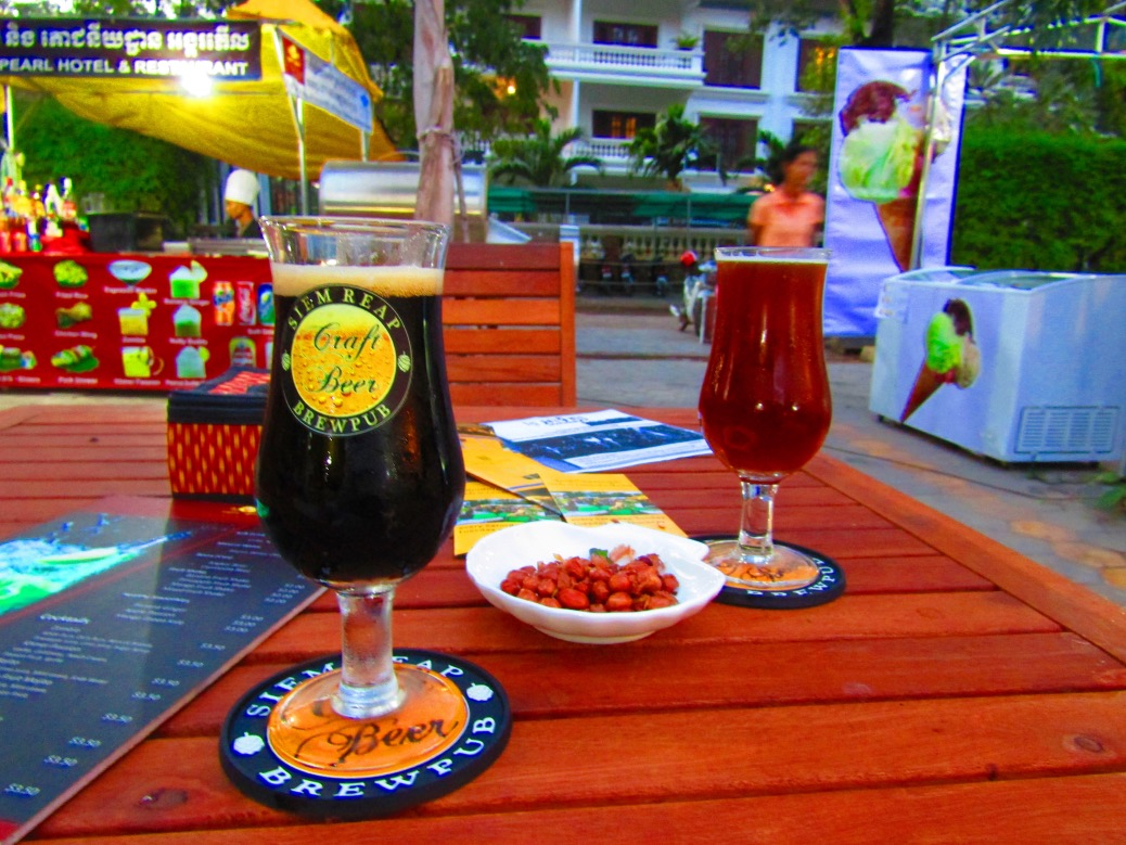 I swear we don't go looking for craft beer; it finds us! In a city of cheap (albeit refreshing) beer, we were shocked to run across Siem Reap Brewpub at the Made in Cambodia Market. And at $1.50 USD a glass no less! We tried the Dark Ale, IPA and Golden Ale... All quite good!