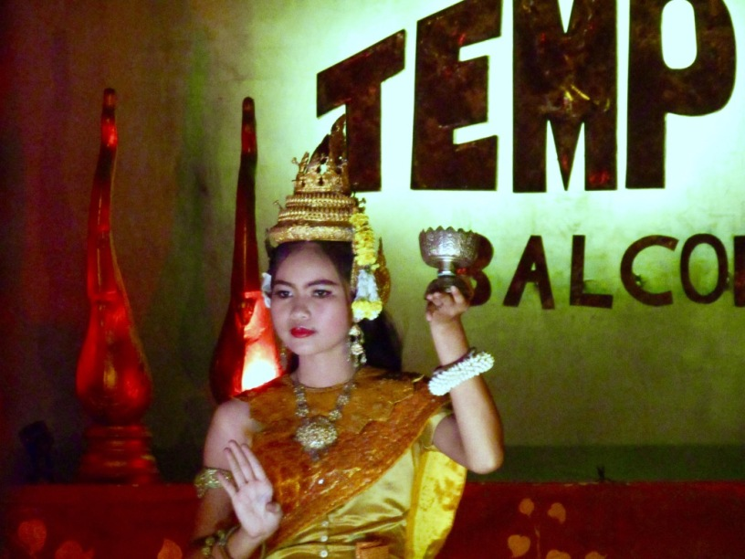 An apsara dancer performs at Temple Balcony on Siem Reap's Pub Street