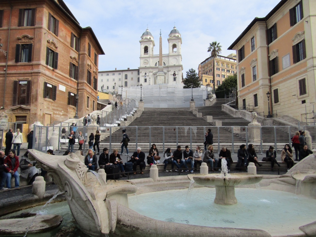 Built in the 1700s, the Spanish Steps link the Trinità dei Monti church to the Plaza of the Spanish Embassy to the Vatican at street level. Usually a popular hang out space for Romans and tourists alike, the steps are currently closed for restoration due to wear and tear from all those tourists. Luxury jewelry brand Bulgari is footing the bulk of the restoration bill.