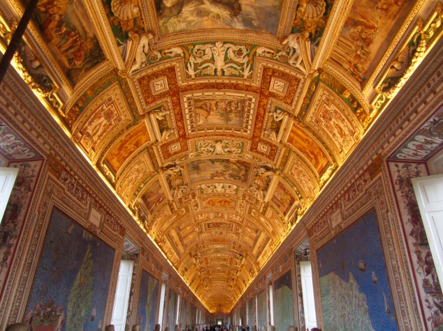 In the 1500s, Pope Gregory XVIII commissioned a priest/cartographer named Ignazio Dante to fill the 400 feet long hallway of the Belvedere Courtyard's third floor with maps featuring battles, waterways and detailed regional topography. The ceiling, painted by a group of artists, depicts scenes corresponding to each map.