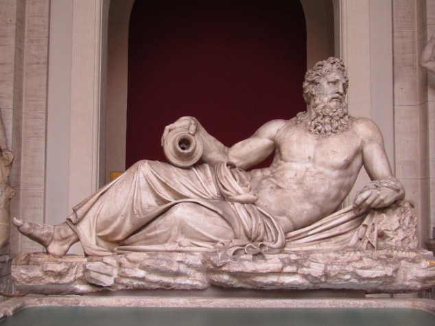 A sculpture of river god Arno reclines in the Vatican's Octagonal Courtyard. The sculpture was originally carved in the second century, but restored and changed throughout the centuries by various artists. The current form is the result of Renaissance-era artists in the 16th century.