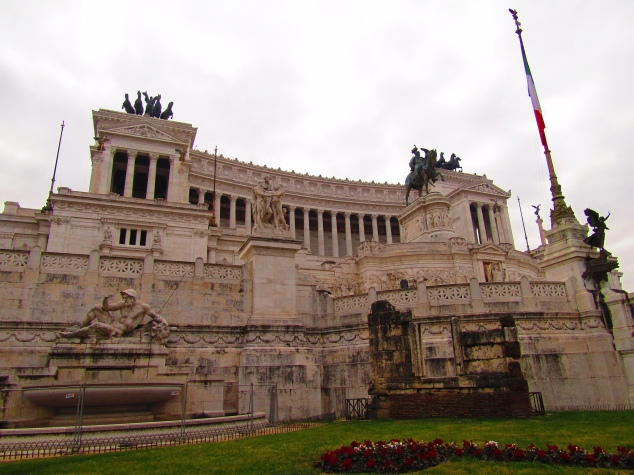 The extravagant Altare della Patria is a relatively new monument, built between 1885 and 1911 to honor King Victor Emmanuel. It was controversial at the time of construction as it utilizes every architectural cliche of Roman construction aesthetics and was considered by many to be over the top. It also razed a Medieval-era neighborhood to clear a site directly at the fringe of the Roman Forum ruins.
