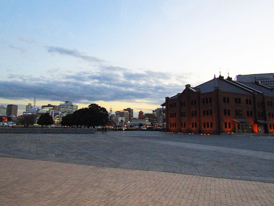 Yokohama's Red Brick Warehouse at dusk
