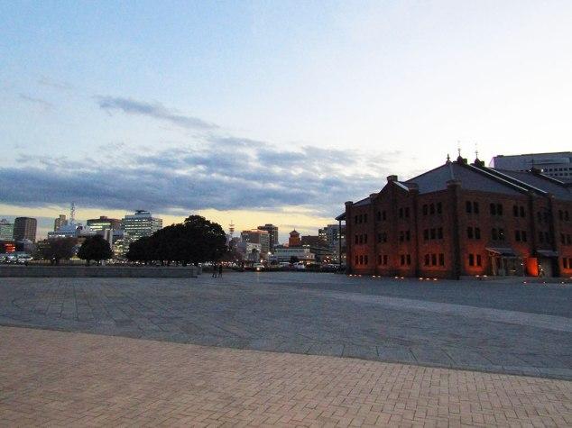 Yokohama's Red Brick Warehouse at dusk