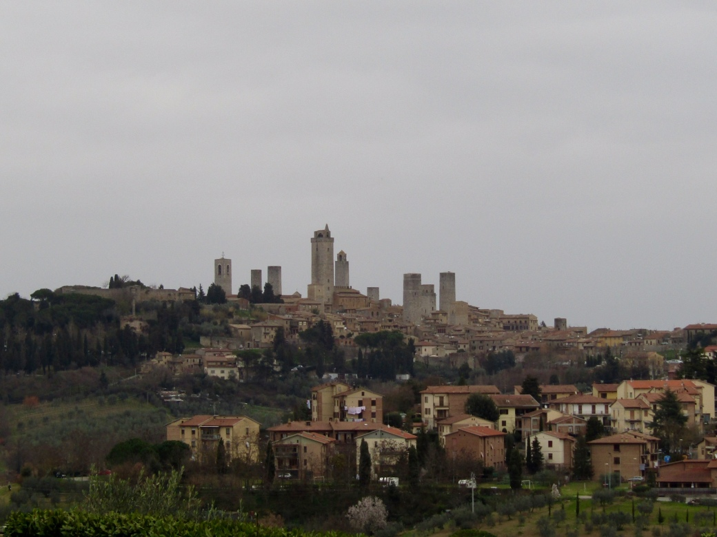 A view of San Gimignano's towers from Borgo di Racciano.