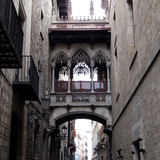 A bridge between two buildings as we approached Plaça de Sant Jaume in Barcelona's Gothic Quarter.