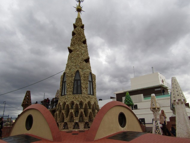The main spire at Palau Güell acts as a ventilation system and lets natural light enter the house.