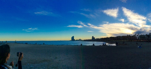 The sunset from Barceloneta.