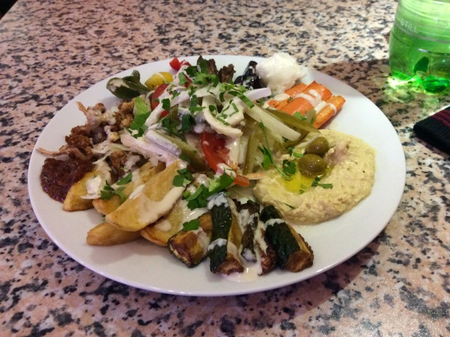 The makali plate, a mix of fried vegetables, at the small Turkish restaurant.