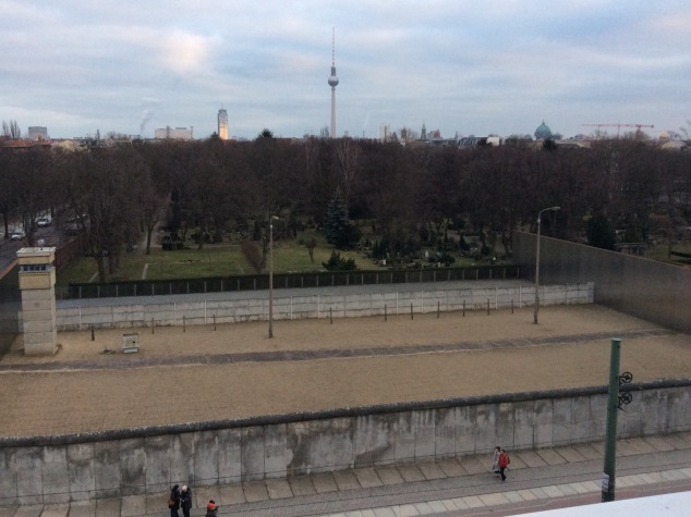 "A guard tower and the area between in inner and outer walls known as the ""death strip"" can still be seen at the Berlin Wall Memorial."