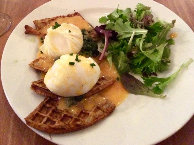 Savory waffles at Peck 47.