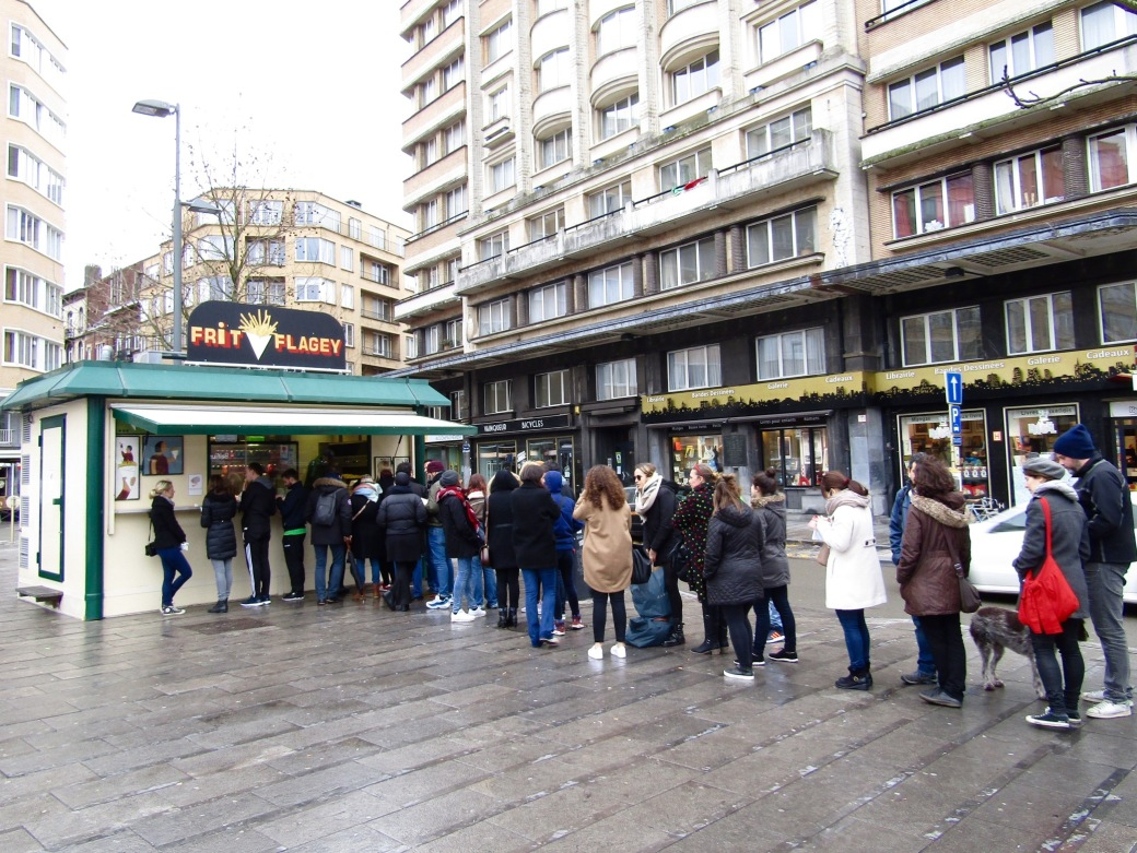 Waiting in line at Frit Flagey.