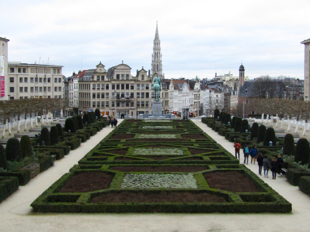 Looking toward the Grand Place from up above Sablon.