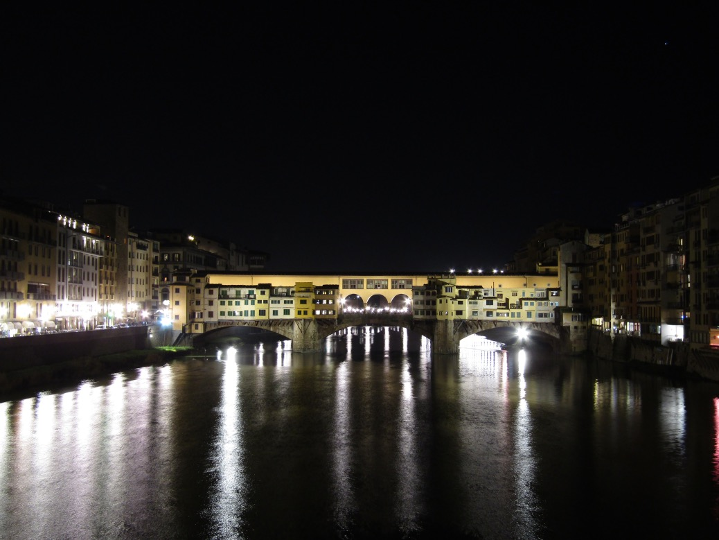 Back in Florence to finish the day, we walked through the south part of town and across the Ponte Vecchio bridge. The bridge is lined with shops on both sides. Originally butcher shops, they now host jewelry and clothing shops.