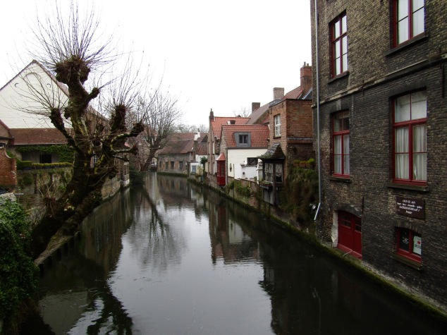 "One of the canals in Bruges that give it the moniker of ""Venice of the North."""