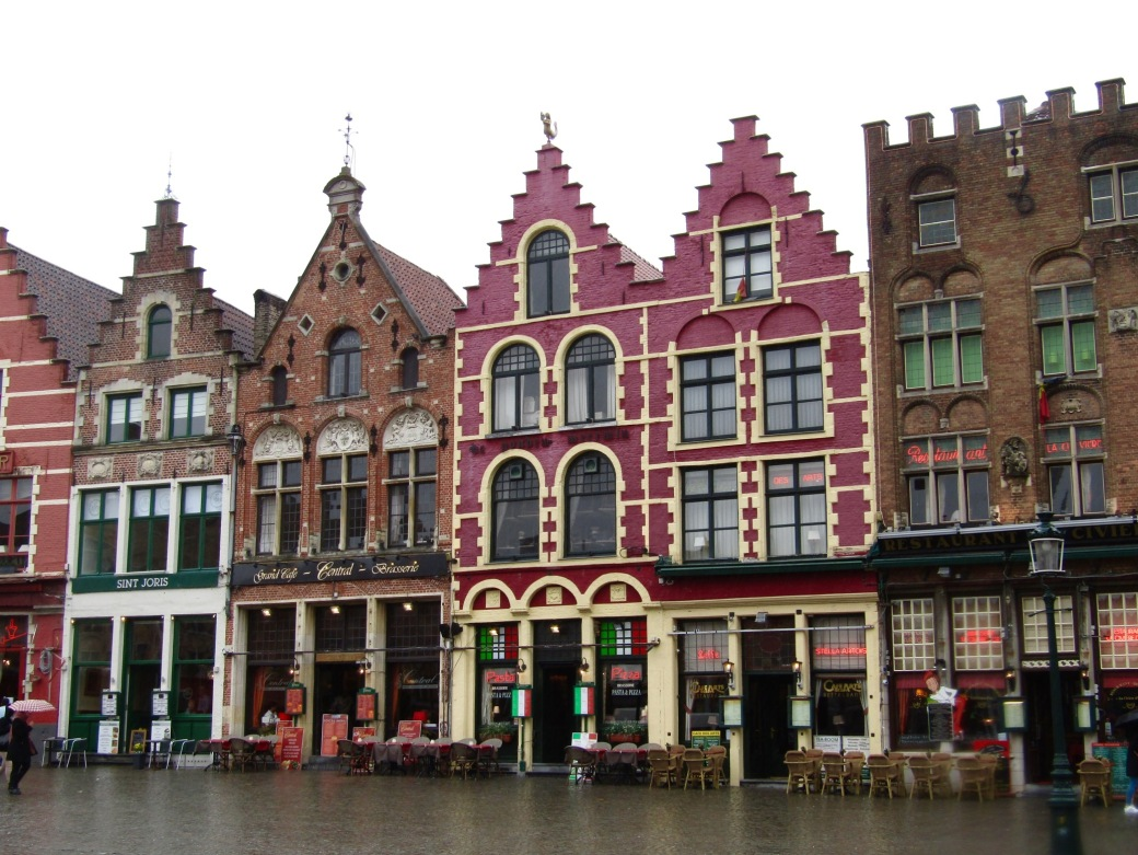 Some of the old facaded buildings that line the main square.