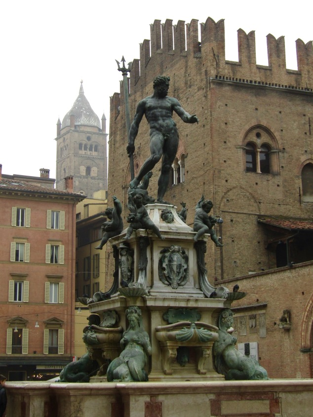 The Fountain of Neptune stands near the city's main public plaza, Piazza Maggiore. Completed in 1597, it was commissioned in honor of the election of Pope Pius IV. Luxury auto brand Maserati uses the statue's trident design in its company logo.