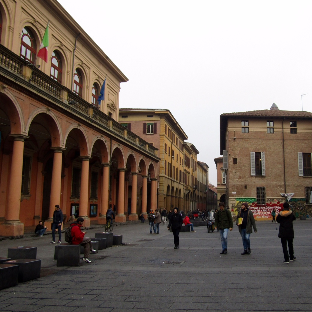 A piazza in the center of the University of Bologna campus.