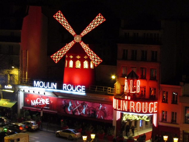 Finally in our apartment with a view of the famous Moulin Rouge, the craziness of the day finally behind us.