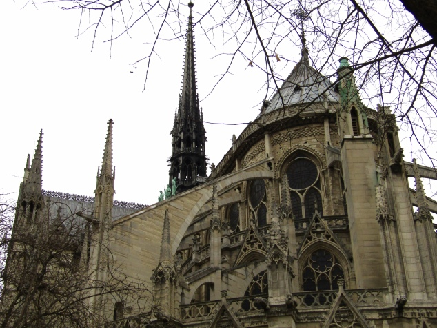 The east side of Notre-Dame's cathedral is famous for its flying buttress supports, among the first of their kind when originally built in the 1100s.