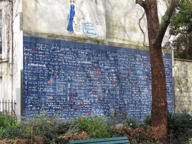 "The Wall of Love is an art installation near Abbesses. It features the phrase ""I love you"" 311 times in 250 languages."