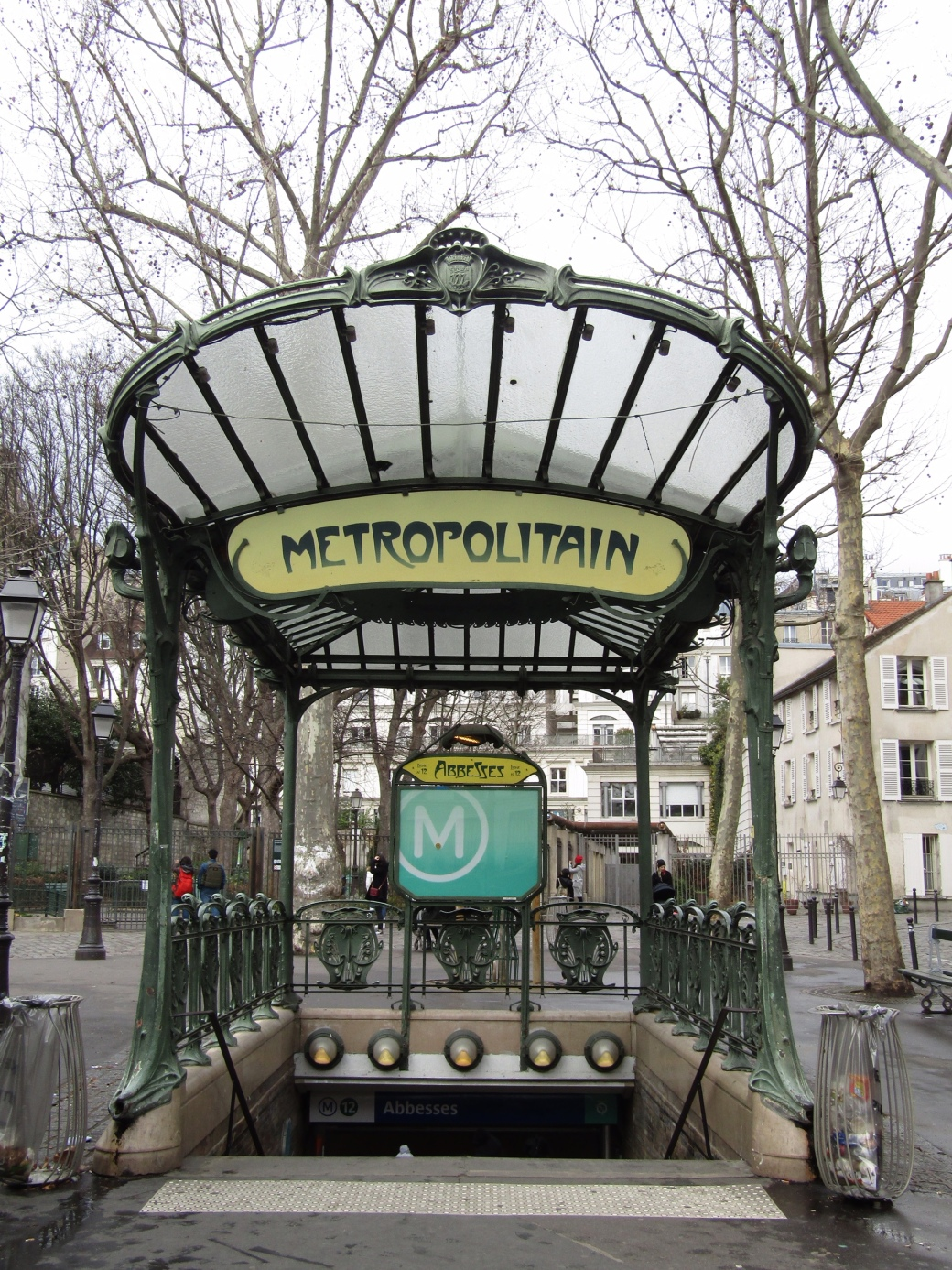The glass canopy at the Abbesses metro station.