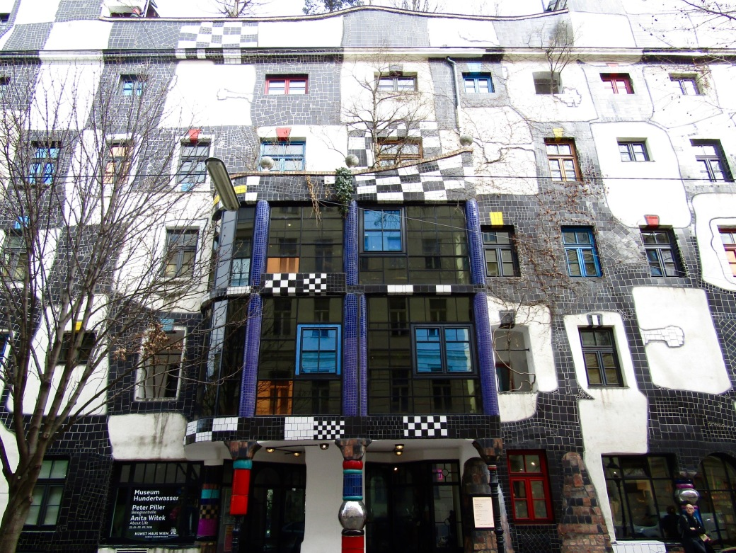 The funky facade of Kunst Haus, a museum dedicated to the works of Austrian artist Friedensreich Hundertwasser.