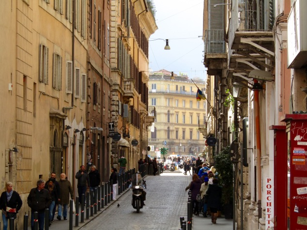 A busy side street near Rome's famous Pantheon.