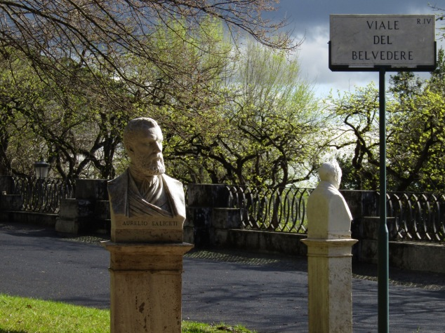 Famous Italians are memorialized in 228 busts that fill the Pincian Hill Gardens near Villa Borgehese. The light after a hard, fast rain was beautiful!