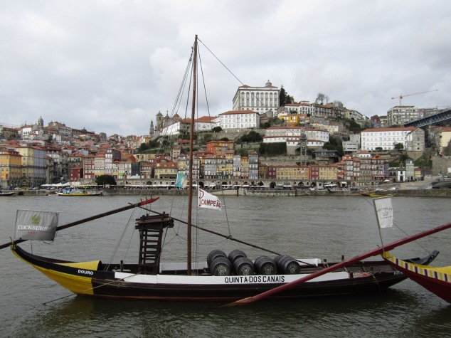 A Rabelo boat belonging to Cockburn's Port House sits in the Douro River.