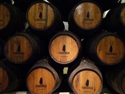 Oak barrels in the Sandeman cellar age the various red port wines. The ports at Sandeman rarely have a vintage as they use a blend of harvests to create a consistent product.