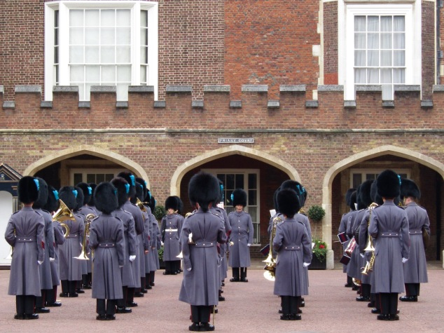 The Buckingham Palace Household Troops assemble in Friary Court at St. James Palace in preparation for the changing of the guard ceremony.