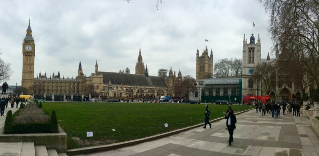 From left to right: Big Ben, Westminster Palace, Victoria Tower and Westminster Abbey.