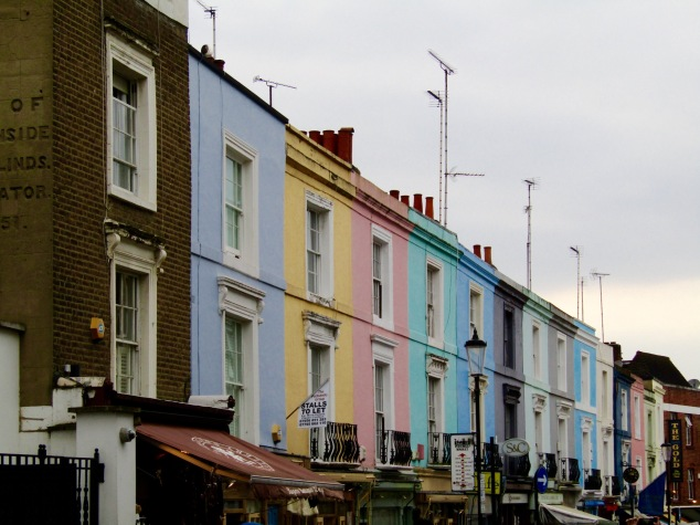 The colorful houses on Portobello Road in the funky Notting Hill neighborhood.