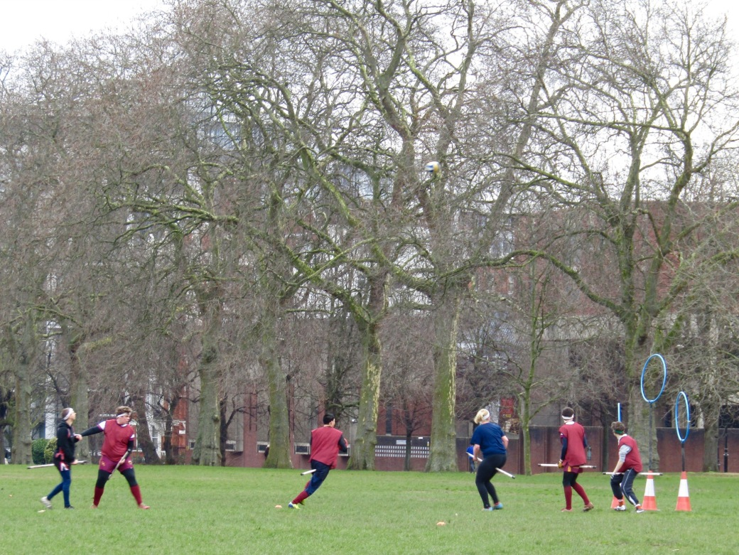 A quidditch team practices in Kensington Gardens. The once-fictional sport, a creation of Harry Potter author J.K. Rowling, now has teams around the world playing competitive tournaments.