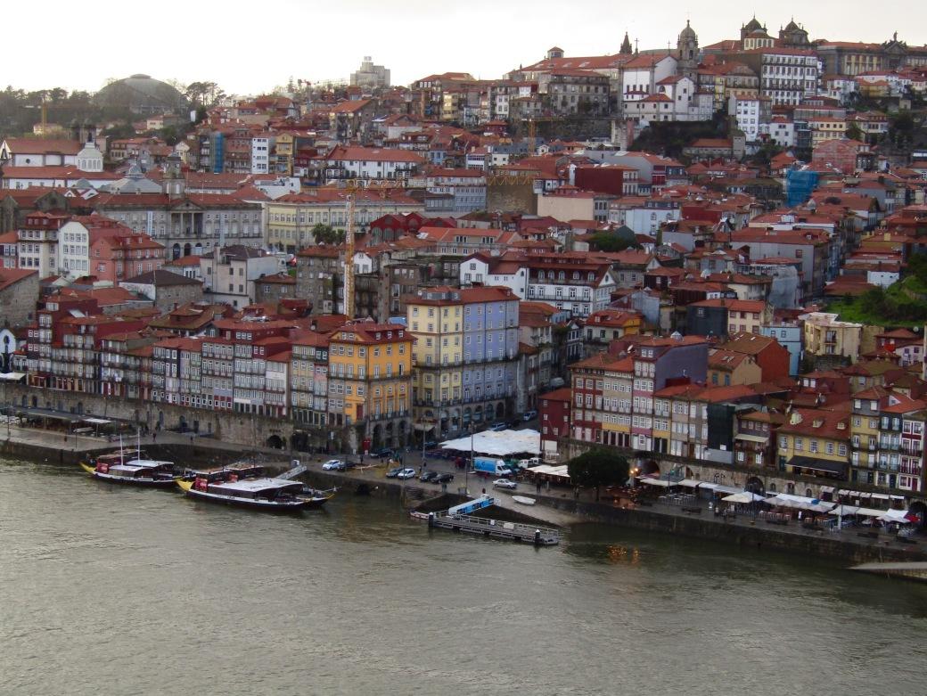 The historic south bank of the Douro River as seen from the Mosteiro de Serra do Pilar viewpoint.