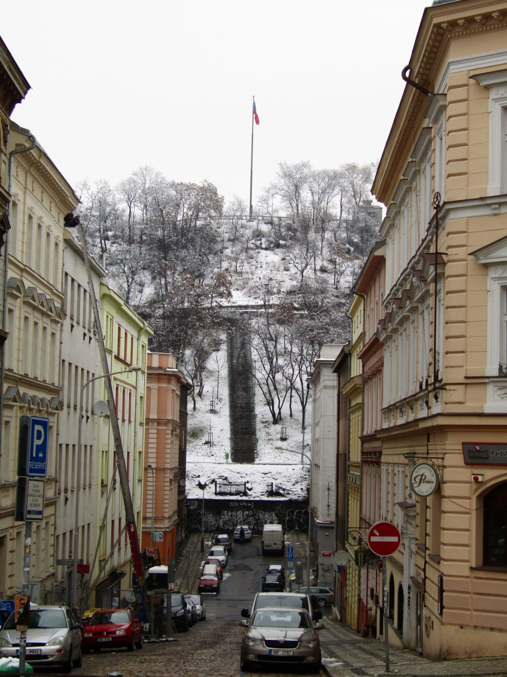 The steps up to Vitkov Hill.