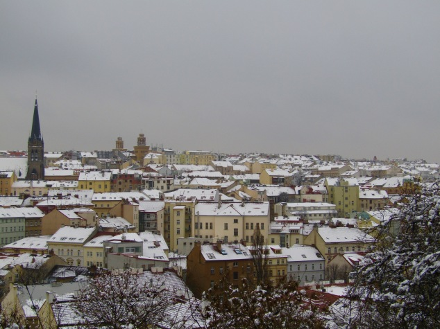 Looking out over Žižkov and Vinohrady from the top of Vitkov Hill.