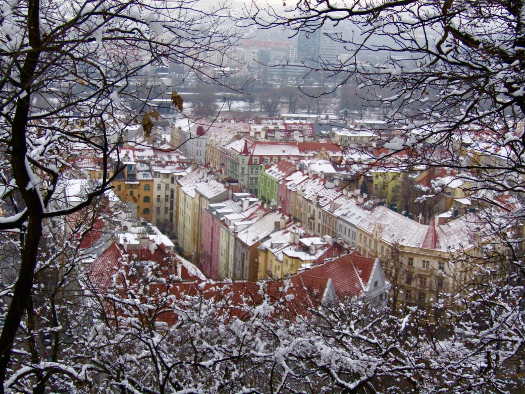 Looking north into the Karlín district from Vitkov Hill.