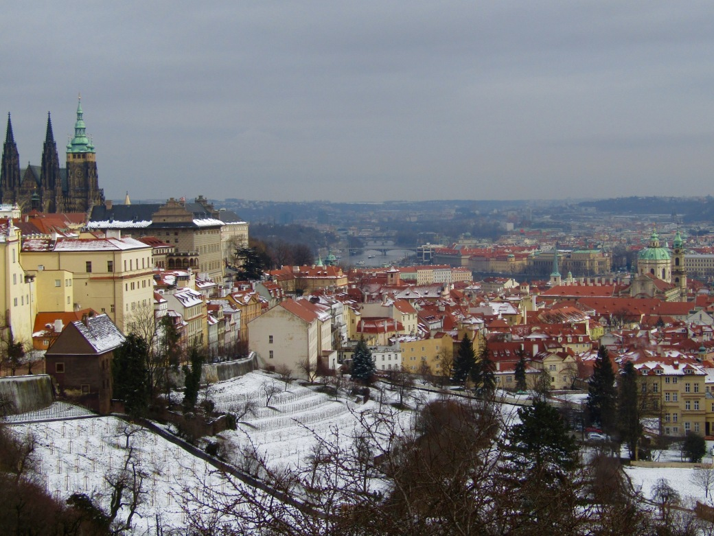 View of Prague, including Prague Castle, from Strahov Monastery.