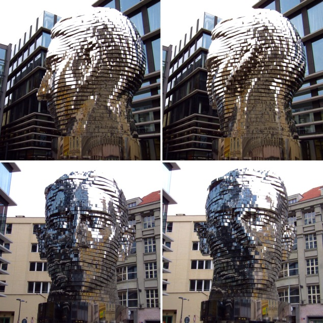 The rotating Kafka Head statue in various states of rotation. Eventually it became unrecognizable as the different layers spun away from one another.