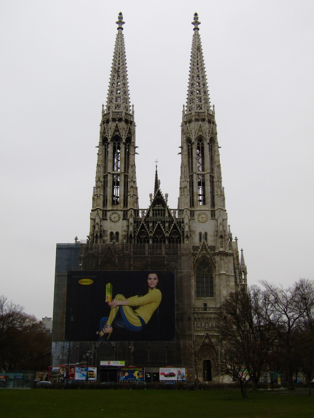 The Votivkirche (Votive Church) is currently under renovation.