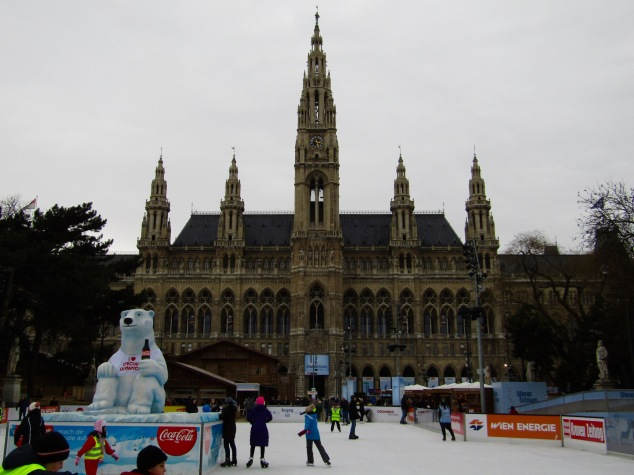Skating rink in front of the Rathaus, Vienna's City Hall.