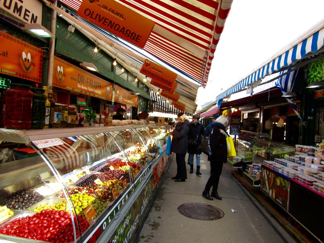 The stalls of the Naschmarkt. At nearly one-mile long, there's something for everyone!