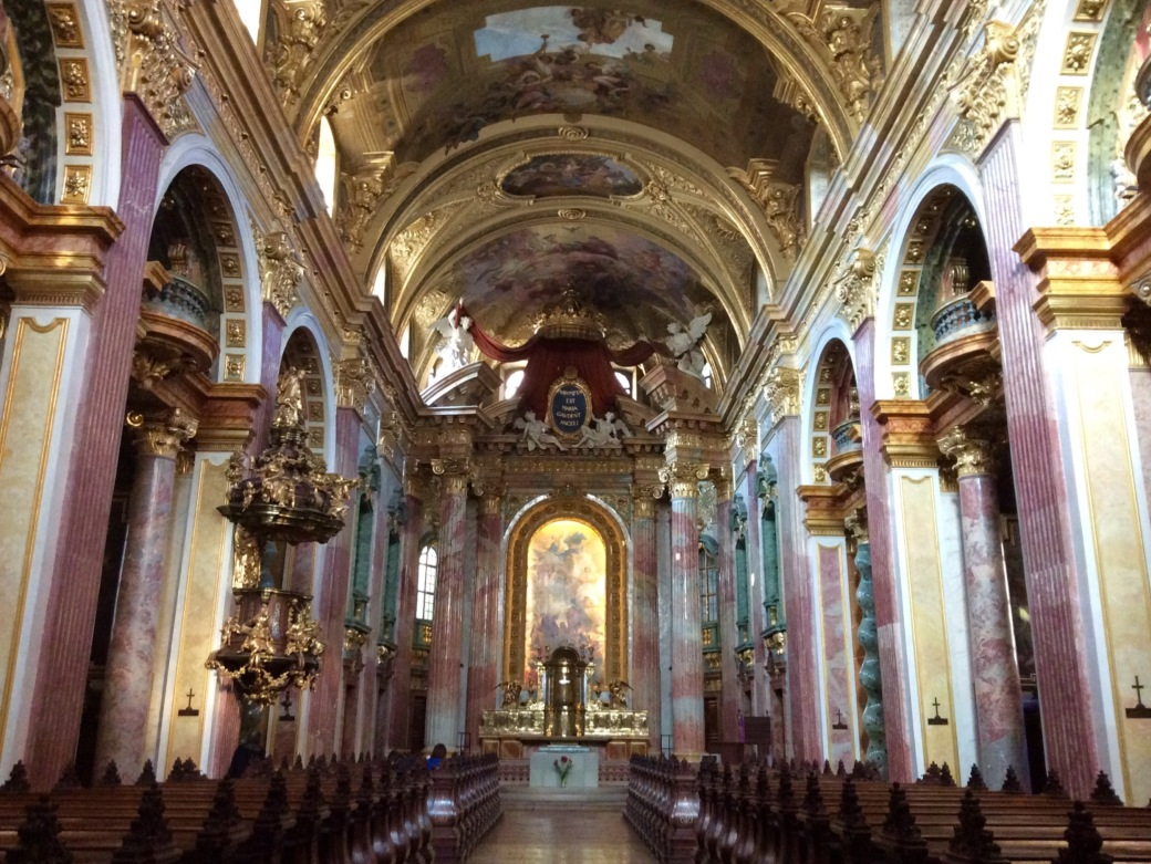 Inside the Jesuit Church. The outside is fairly unassuming, but inside is another story.