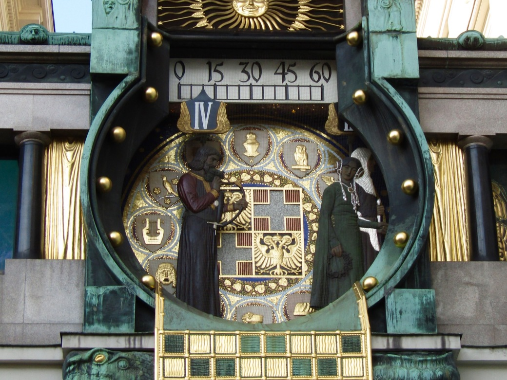 The Ankeruhr clock in the Hoher Markt area.