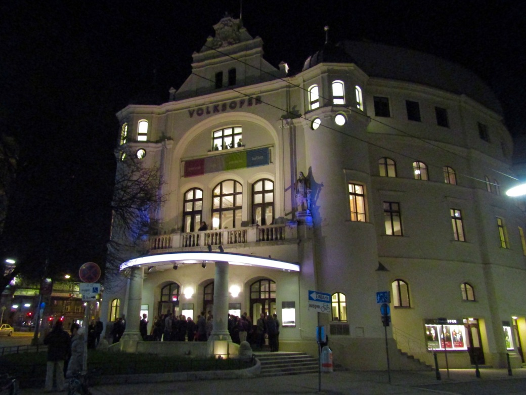 The Volksoper, a public opera house in Vienna, where we saw a production of the Italian opera La Traviata.