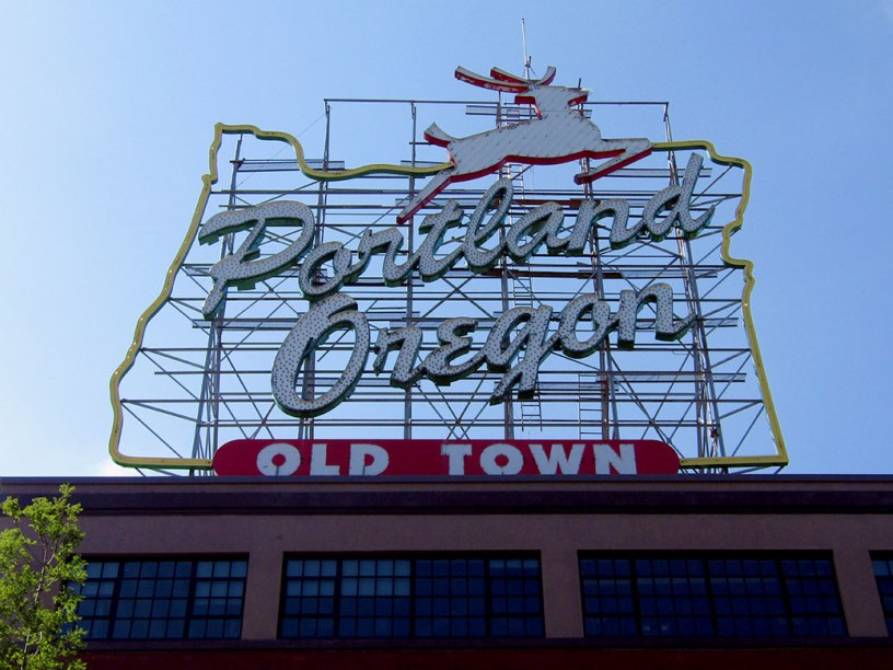 The White Stag sign welcomes visitors to downtown Portland. First mounted in 1940 as an advertisement for White Satin Sugar, it was designated as a Historic Landmark in 1977. It served as an advertisement for White Stag Sportswear for 40 years.